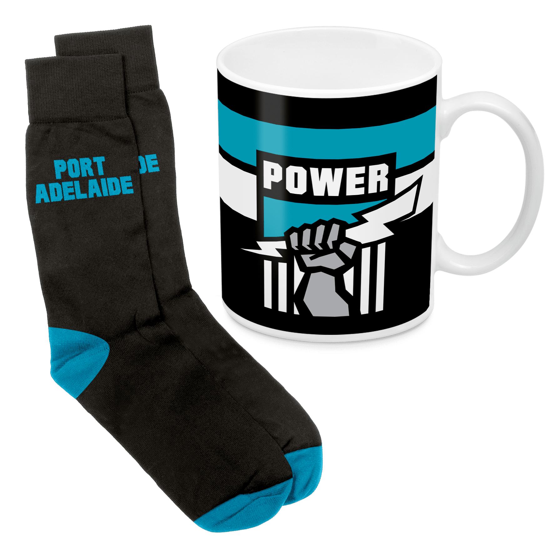 AFL Mug & Sock Gift Pack Port Adelaide