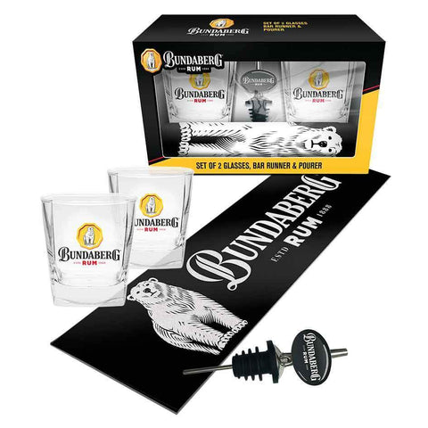 Bundy Gift pack with Spirit Galsses, Pourer, and Bar Mat