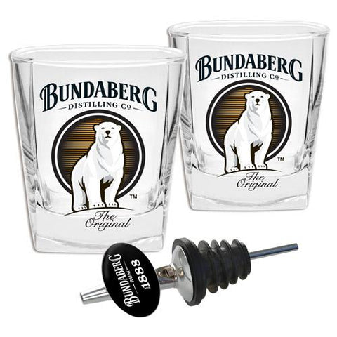 Bundaberg Spirit Glasses & Pourer S/2