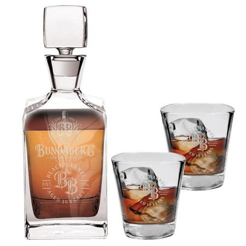 Bundaberg Decanter Glass And 2 Glasses