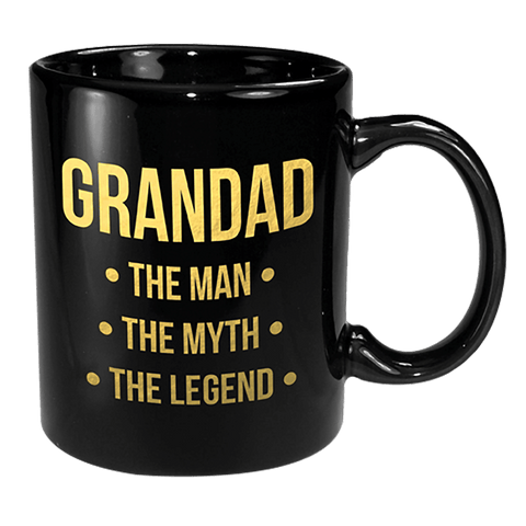 Coffee Mug - Grandad Black & Gold The Man, Myth & Legend 12oz
