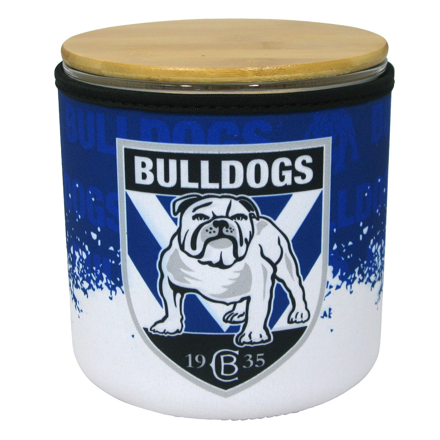 NRL Cookie Jar With Neoprene Cover Bulldogs
