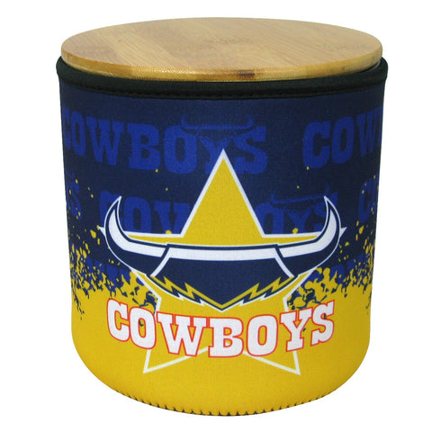 NRL Cookie Jar With Neoprene Cover Cowboys