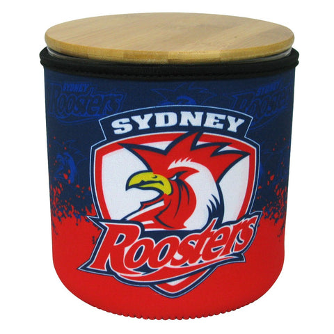 NRL Cookie Jar With Neoprene Cover Roosters