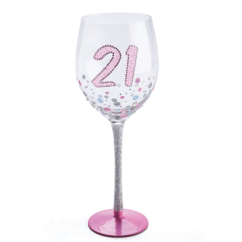 WINE GLASS 21ST BIRTHDAY SPARKLE
