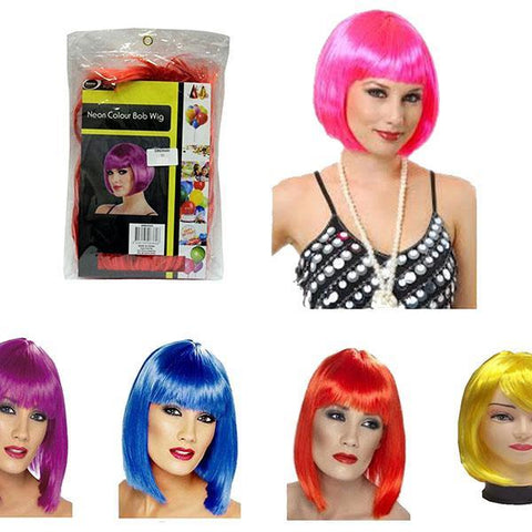 Neon Bob Wig Assorted Colours