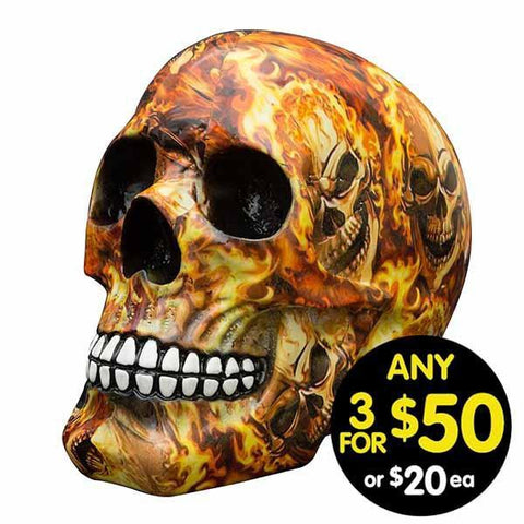 Decor Skull Flaming Skulls