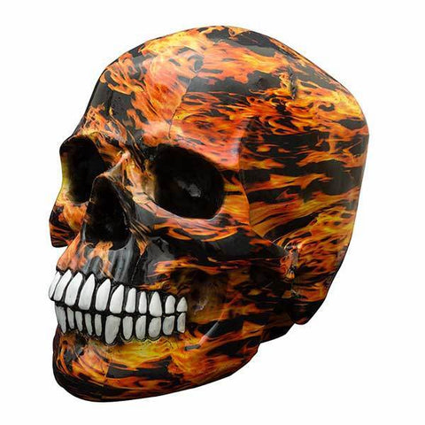 Decor Skull Money Box Flames