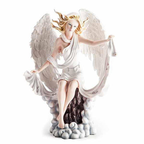 Large Fairy Figurine White With Clouds 47X19X45Cm