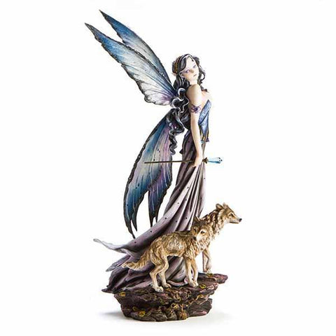 Large Fairy Figurine With Wolves 59Cm
