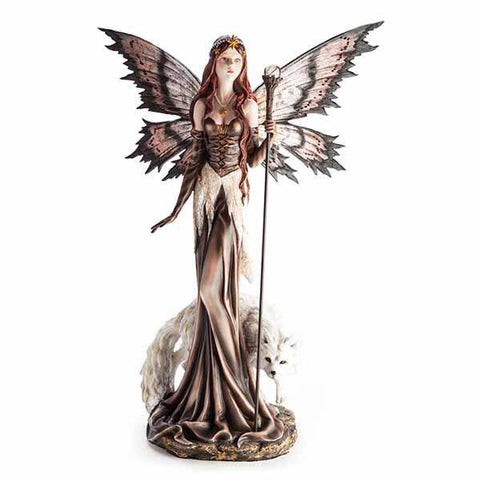 Large Fairy Figurine Brown With Snow Wolf 27X30X60Cm