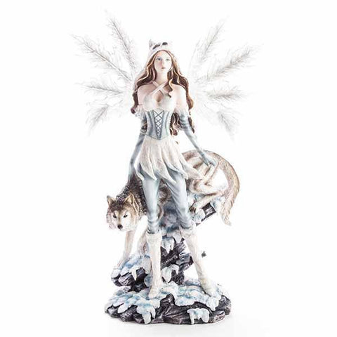 Large Fairy Figurine With Wolf 42X23X65Cm Mdi