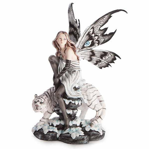 Large Fairy Figurine With White Tiger 28X29X52Cm
