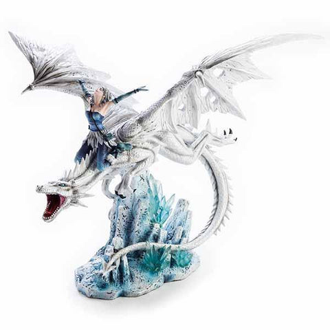 Dragon Large White With Fairy Riding 53X42X43Cm