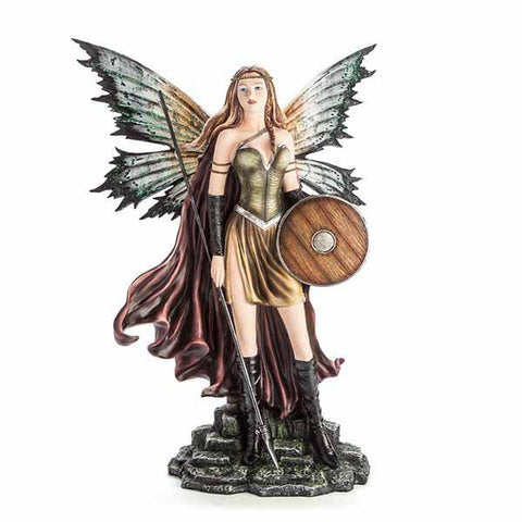 Large Fairy Figurine Warrior With Shield & Spear 27X19X55Cm