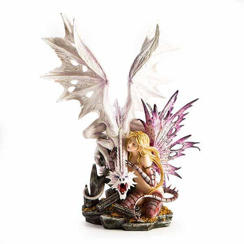 Large Fairy Figurine With Purple Wings White Dragon 59Cm Mdi