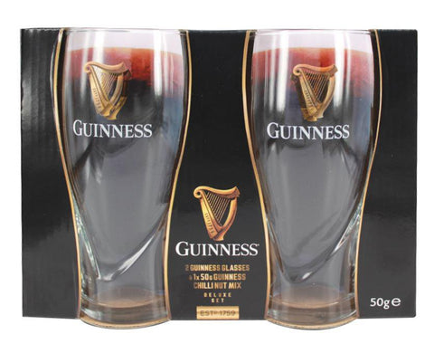 Guinness Glass Set Of 2 with Nut Mix