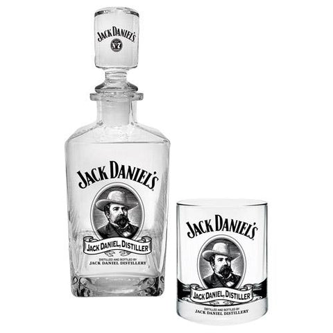 Jack Daniels Decanter Glass And 2 Glasses