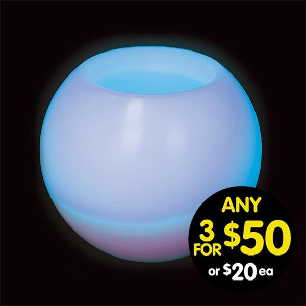 White Wax Sphere LED Candle 27cm