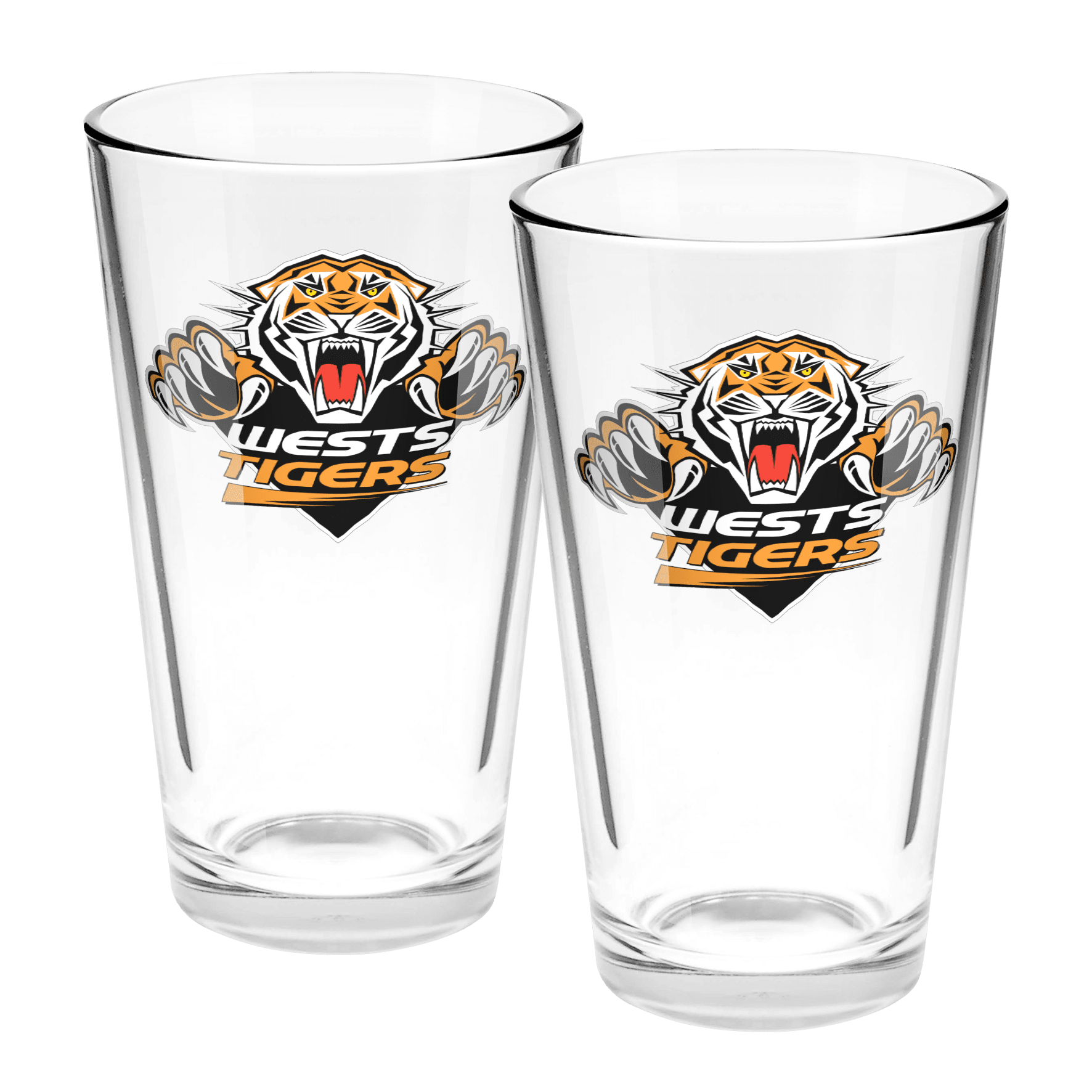 NRL Conical Glasses Set Of 2 Tigers