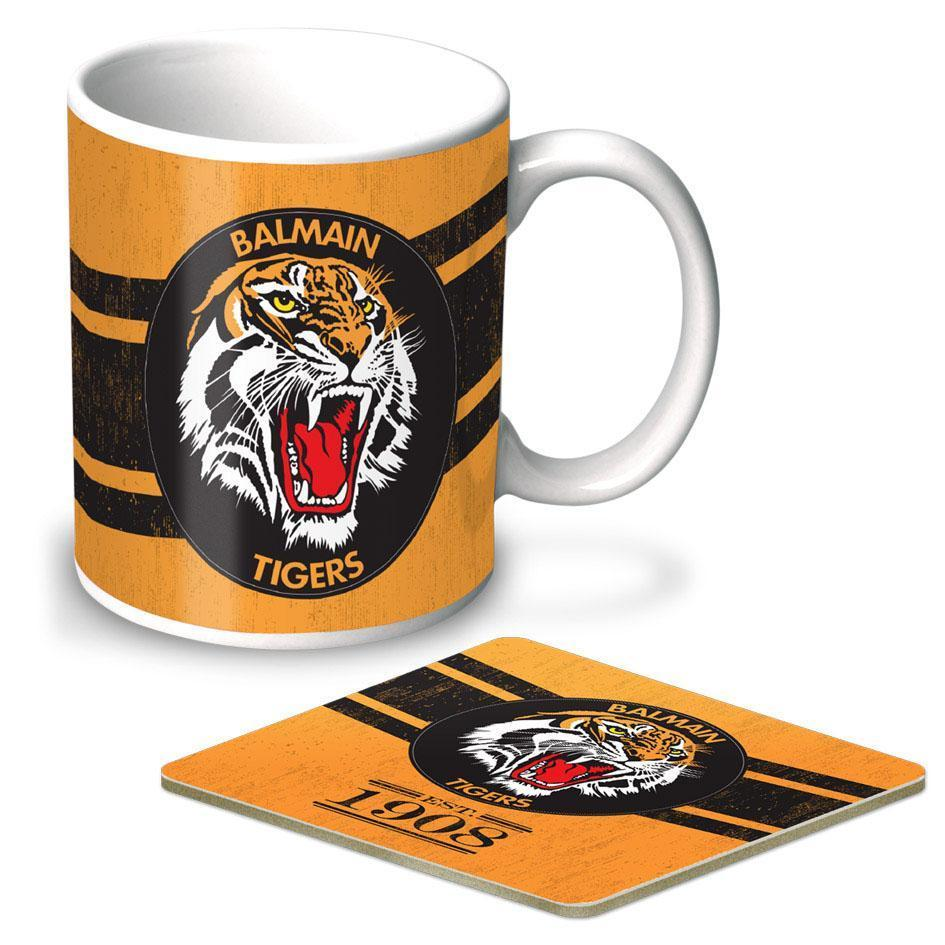 NRL Coffee Mug And Coaster Set Tigers