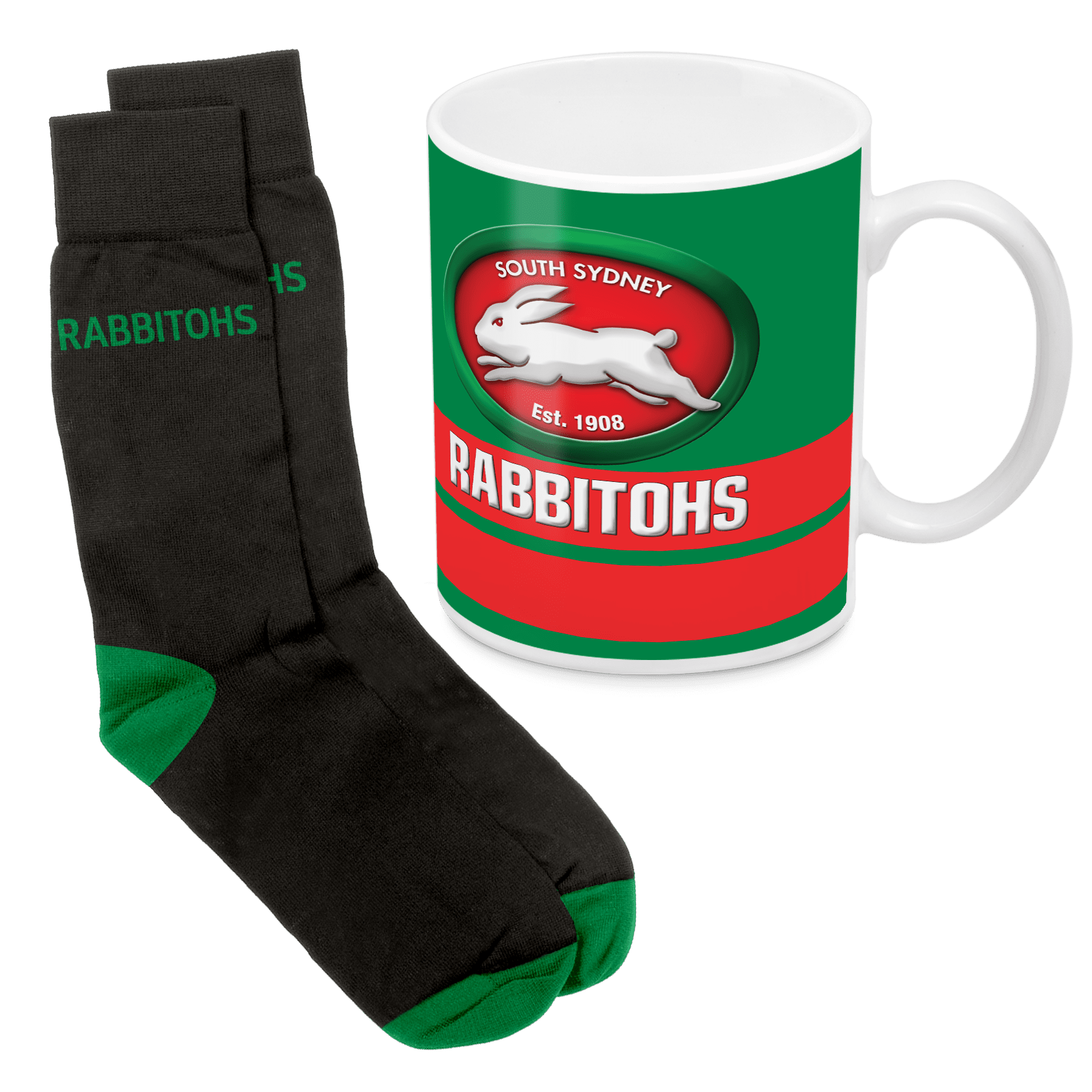 NRL Mug & Sock Gift Pack Rabbitohs