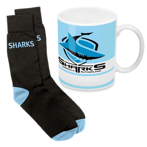 NRL Mug & Sock Gift Pack Sharks