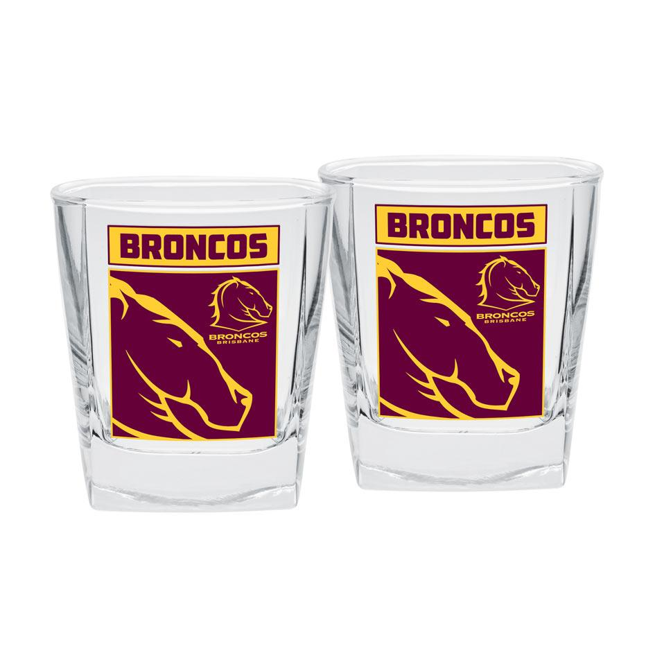 NRL Spirit Glasses Set Of 2 Broncos