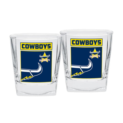 NRL Spirit Glasses Set Of 2 Cowboys