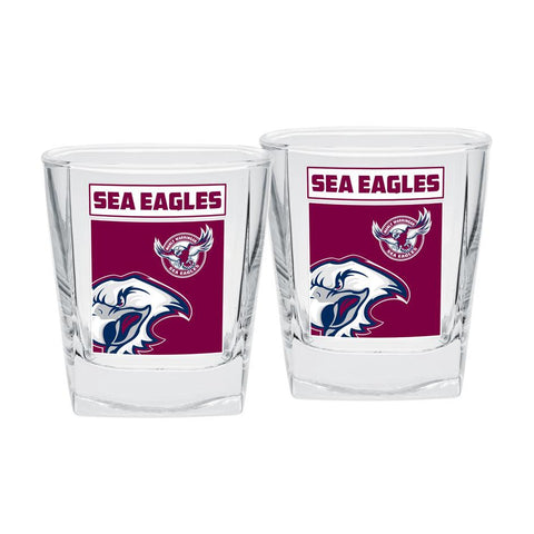 NRL Spirit Glasses Set Of 2 Manly