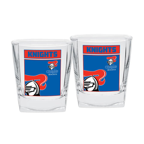 NRL Spirit Glasses Set Of 2 Knights