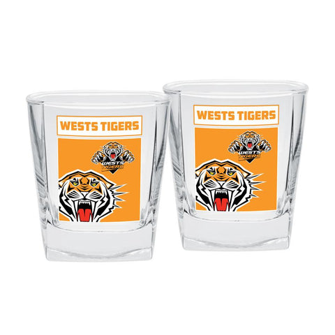 NRL Spirit Glasses Set Of 2 Tigers
