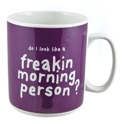 "Huge purple coffee mug with white text.<br>""Do I look like a freakin morning person?"" text.<br>Can hold 900ml of coffee!<br>Perfect for the caffeine lover's morning fix 110(L) x 110(W) x 125(H) mm."