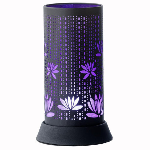 Black and Purple Silhouette Lamp with Lotus Flowers