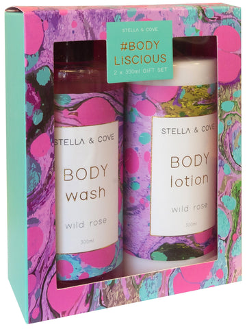 Stella & Cove Body Liscious Body Wash Lotion Gift Pack Wild Rose