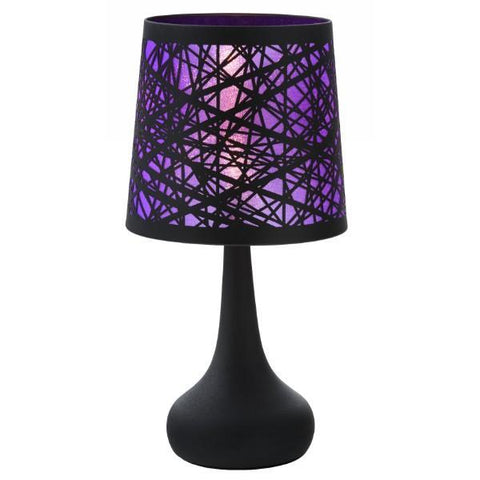 Black Silhouette Lamp with Purple Graphics Shade