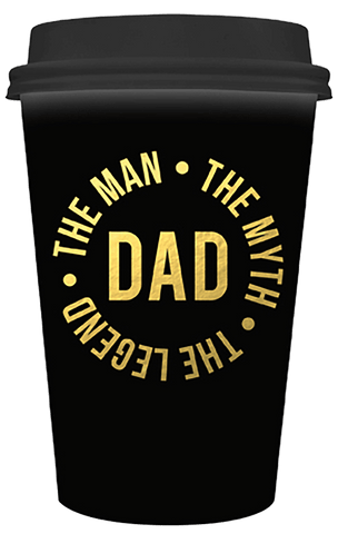 Travel Mug Dad Black & Gold The Man, Myth & Legend