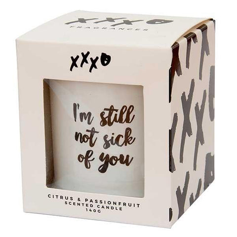 XXXO Citrus & Passionfruit Glass Jar Candle  'I'M Still Not Sick Of You' - LIMITED EDITION
