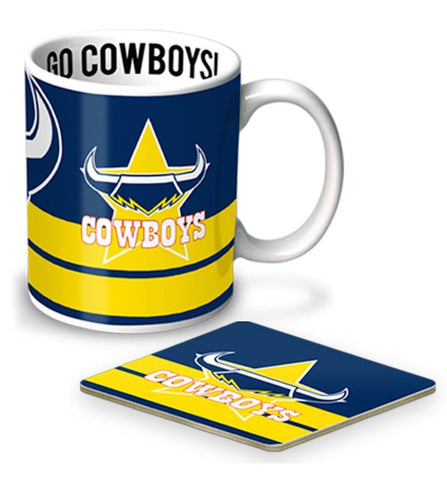 NRL Coffee Mug And Coaster Set Cowboys
