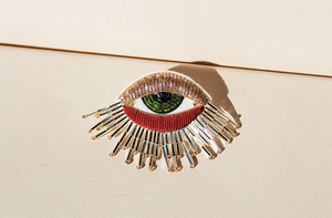 Load image into Gallery viewer, Hand Embroidered Fringey Eye Brooch Pin