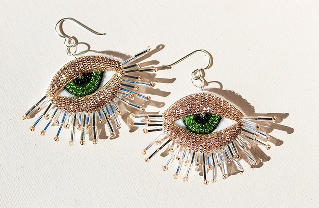 Load image into Gallery viewer, Embroiders Silver French wire earrings with Green Iris