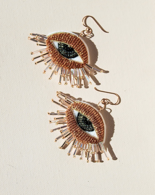 Embroidered Copper Eye Rose Gold-Filled French Wire Earrings