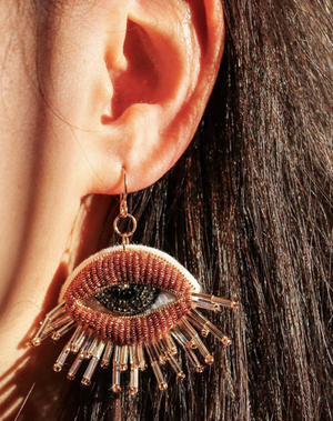 Load image into Gallery viewer, Embroidered Copper Eye Rose Gold-Filled French Wire Earrings
