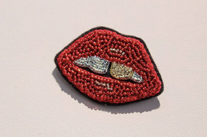 Load image into Gallery viewer, Nervous Smile Hand Embroidered Beaded Brooch