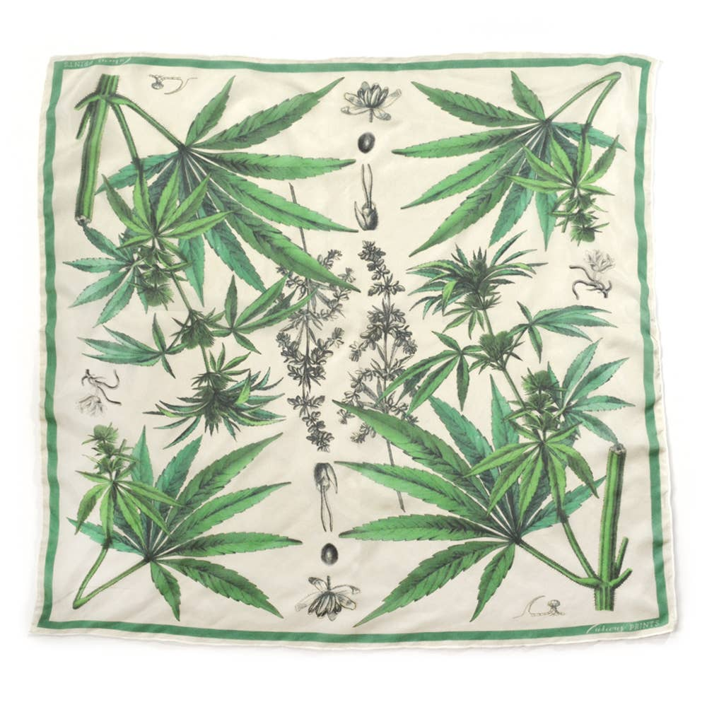 Load image into Gallery viewer, Scarf 100% Silk Botanical Marijuana Cannabis Bandana