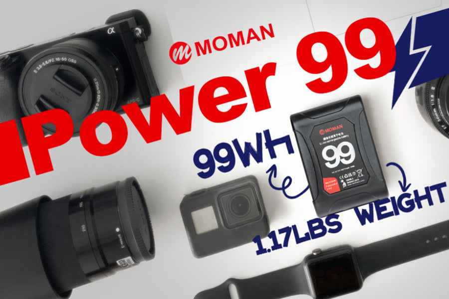 moman v-mount battery with Dual D-Tap & USB Outputs