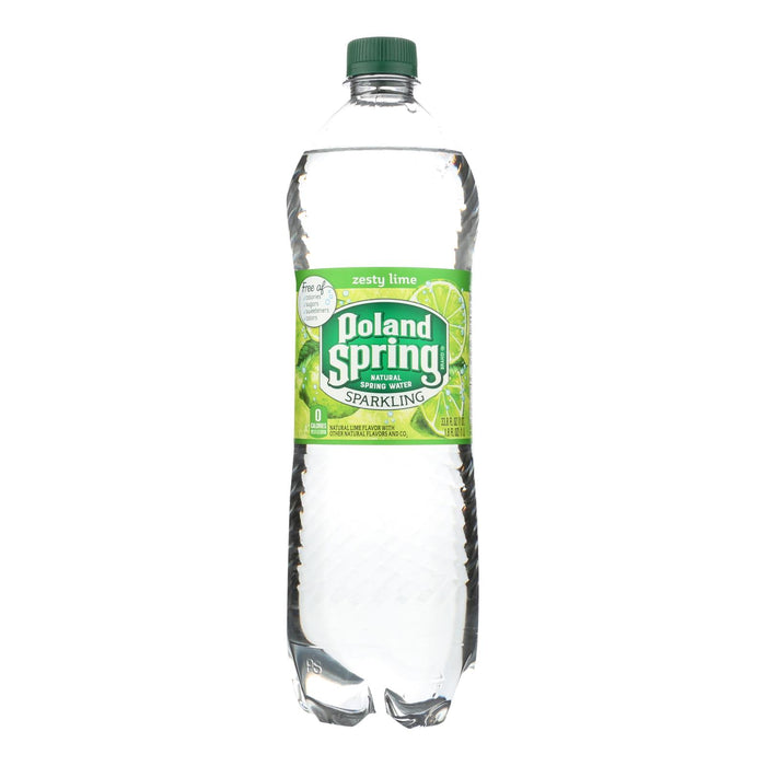 Poland Spring Sparkling Water - Lime - Case Of 12 - 33.8 Fl Oz.