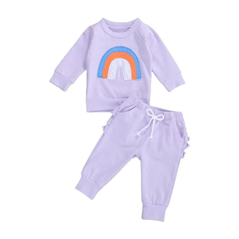 Toddler Baby Girl Rainbow Long Sleeve Pullover Tops Ruffle Pant Clothes Set