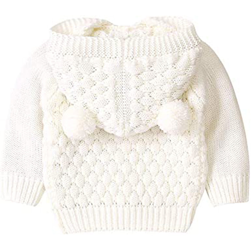 Newborn Baby Girls Boys Hooded Sweater Solid Button-Down Knitted Cardigan Jacket