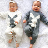 Newborn Baby Rabbit Knitted Jumpsuit With Pompom Long Sleeve Cotton Sweater